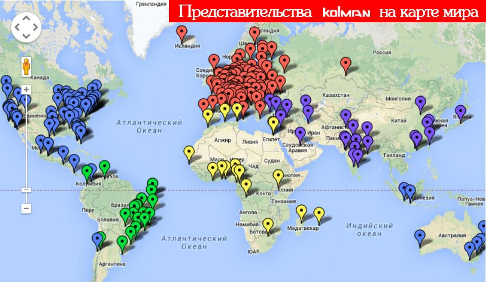 Колман на карте мира
